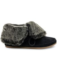 TOMS - Black Suede Faux Hair Women's Zahara Booties - Lyst