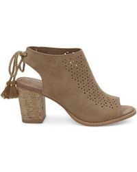 TOMS - Toffee Perforated Suede Women's Elba Booties - Lyst