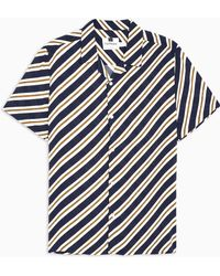 474e4a5afe3 Lyst - TOPMAN Purple And Mustard Stripe Revere Shirt in Yellow for Men