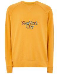 TOPMAN - Mustard New York Sweatshirt - Lyst
