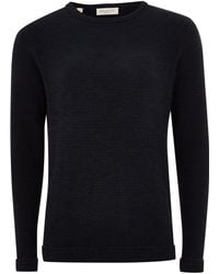 TOPMAN - Elected Homme Navy Organic Cotton Sweater - Lyst