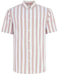 TOPMAN - Only & Sons Brown Stripe Short Sleeve Shirt - Lyst