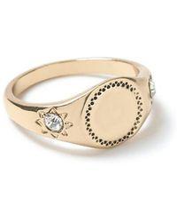 TOPMAN - Gold Signet Ring - Lyst