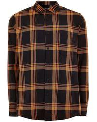 TOPMAN - Black And Orange Slim Check Shirt - Lyst