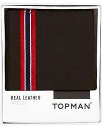 Topman | Chocolate Leather Bifold Wallet | Lyst