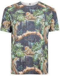 TOPMAN - Black Tiger Print T-shirt - Lyst