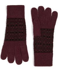 TOPMAN - Burgundy And Black Jacquard Knit Glove - Lyst
