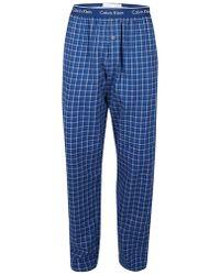 CALVIN KLEIN 205W39NYC - Navy Check Flannel Pyjama Bottoms - Lyst