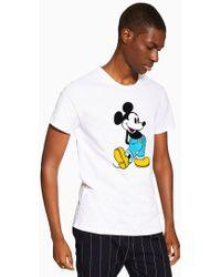 ca9292d0 Topman White Stripe Mickey Mouse T-shirt in White for Men - Lyst