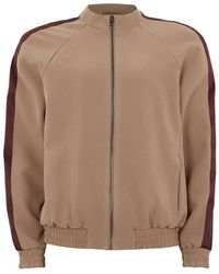 Topman | Stone Smart Track Top With Satin Side Stripe | Lyst