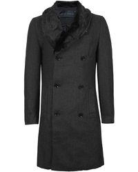 Criminal Damage - Black Herringbone Faux Fur Collar Coat* - Lyst