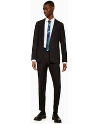 49fe1044976c TOPMAN Black And White Check Neppy Muscle Fit Suit Trouser in Black ...