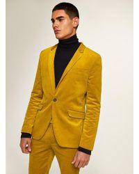 TOPMAN - Mustard Corduroy Super Skinny Blazer - Lyst
