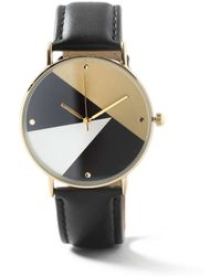 TOPMAN - Black Leather Lined Face Watch* - Lyst