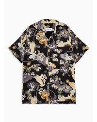 TOPMAN BIG & TALL Black Crane Print Shirt - Negro
