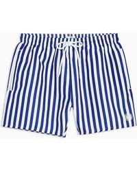 TOPMAN - Blue And White Stripe Swim Short - Lyst
