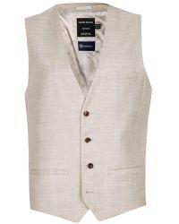 TOPMAN - Stone Crosshatch Wool Suit Waistcoat - Lyst