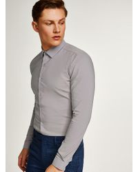 TOPMAN - Grey Textured Muscle Fit Long Sleeve Shirt - Lyst
