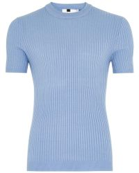 TOPMAN - Light Blue Ribbed Muscle Fit Sweater - Lyst