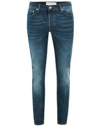 TOPMAN - Blue Wash Stretch Skinny Jean - Lyst