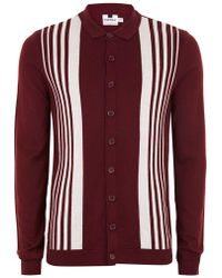 TOPMAN - Burgundy Button Down Knitted Polo - Lyst