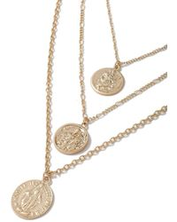 TOPMAN - Gold Coin Necklace - Lyst