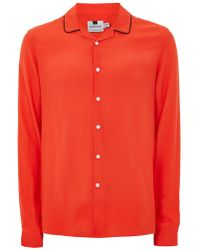 Topman | Red Crepe Piped Shirt | Lyst
