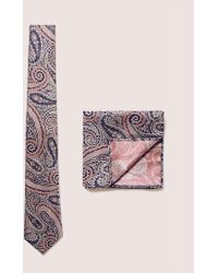 TOPMAN - Pink Jacquard Tie And Pocket Square Set - Lyst