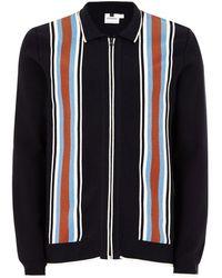 TOPMAN - Navy Knitted Harrington Jacket - Lyst