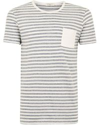 SELECTED - Cream Stripe T-shirt - Lyst