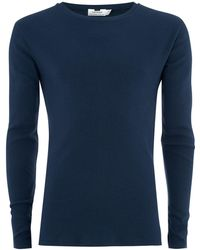 TOPMAN - Navy Muscle Fit Ribbed Top - Lyst
