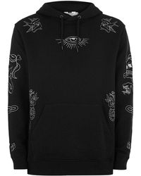 TOPMAN - Black Tattoo Embroidered Hoodie - Lyst