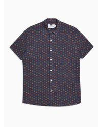 TOPMAN - Navy Geometric Revere Shirt - Lyst
