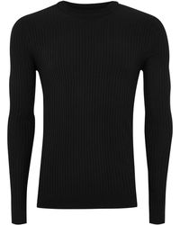 TOPMAN - Black Muscle Ribbed Sweater - Lyst