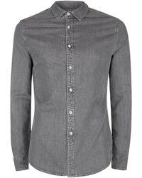 TOPMAN - Grey Denim Stretch Skinny Shirt - Lyst