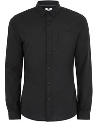 TOPMAN - Black Muscle Fit Oxford Long Sleeve Shirt - Lyst