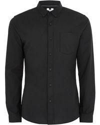 TOPMAN - Black Muscle Fit Oxford Long Sleeve Shirt - Lyst