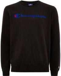 TOPMAN - Champion Black 'corporate' Sweatshirt - Lyst