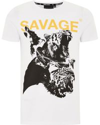 Criminal Damage - White 'savage' T-shirt - Lyst