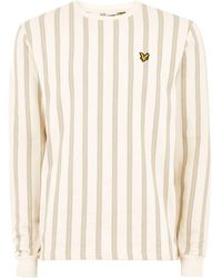 TOPMAN - Lyle & Scott White Stripe Sweatshirt - Lyst
