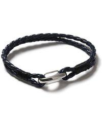 TOPMAN - Navy Leather Bracelet - Lyst