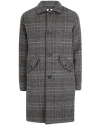 TOPMAN - Grey Check Mac With Wool - Lyst
