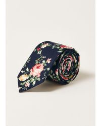 TOPMAN - Large Navy Floral Tie - Lyst