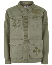 TOPMAN - Khaki Embroidered Military Jacket - Lyst