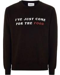 TOPMAN - London Knitwear Company Black 'come For The Food' Sweatshirt - Lyst