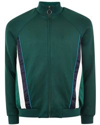 TOPMAN - Green Track Top With Side Panel - Lyst