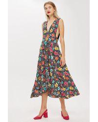 TOPSHOP - Petite '80s Floral Pinafore Dress - Lyst