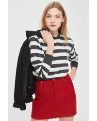 TOPSHOP | Long Sleeve Bold Stripe Crew Neck Sweatshirt | Lyst