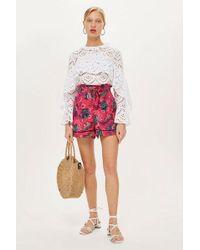 TOPSHOP - Petite Printed Shorts - Lyst