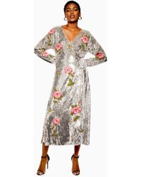 TOPSHOP - Sequin Floral Beaded Wrap Dress - Lyst